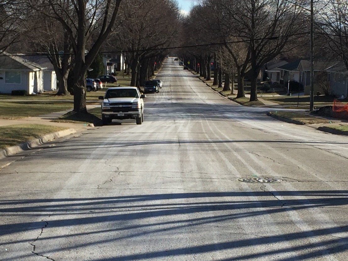 Thorndale Street in Green Bay treated with salt brine, December 9, 2016 (WLUK/Eric Peterson)