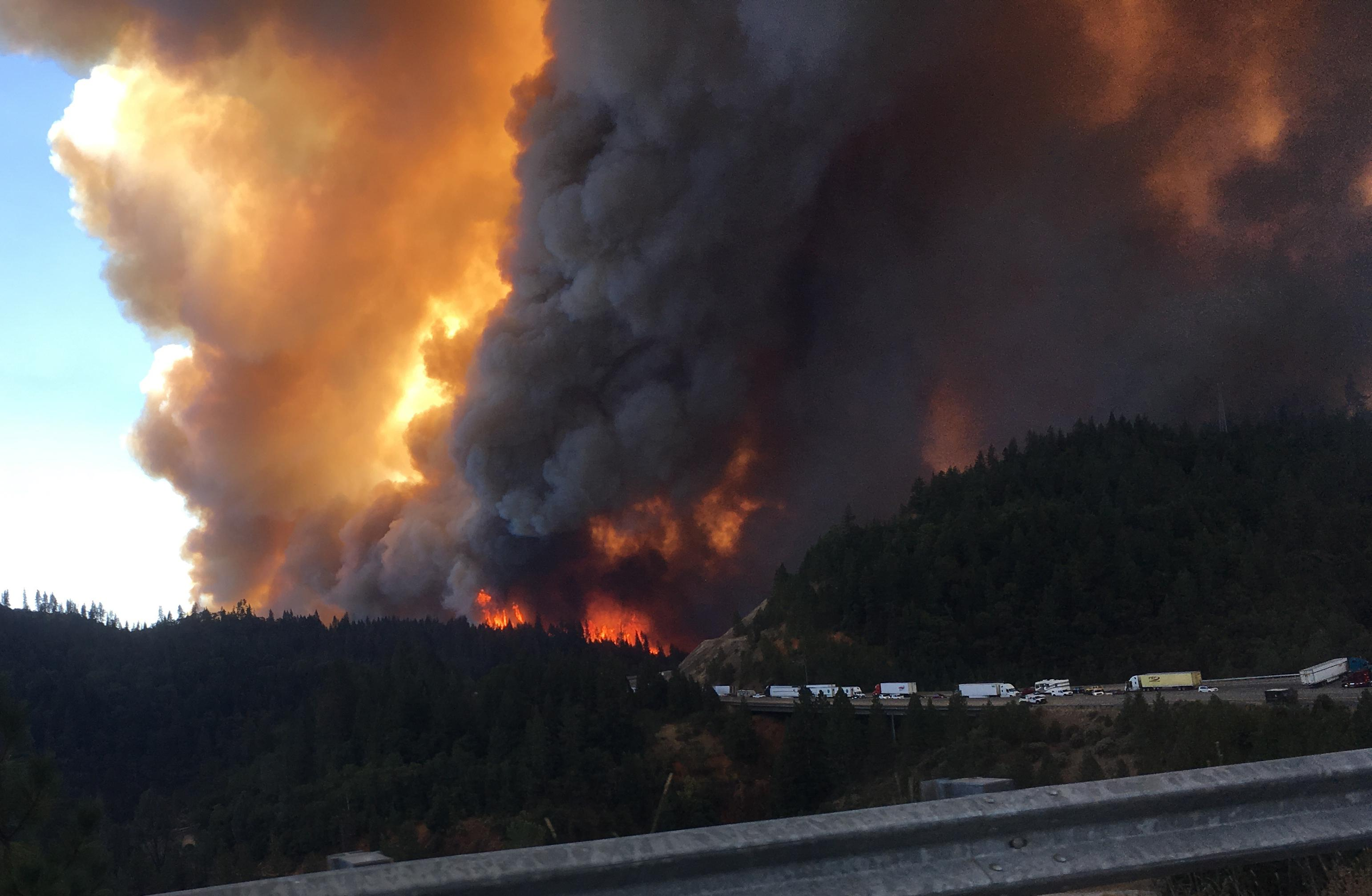 Reader Marti Root was heading south on Interstate 5 Wednesday when he saw this scary sight: the Delta fire, which developed into a wall of flame within 20 minutes. He was able to turn around in stopped traffic, find an exit and head safely back north.