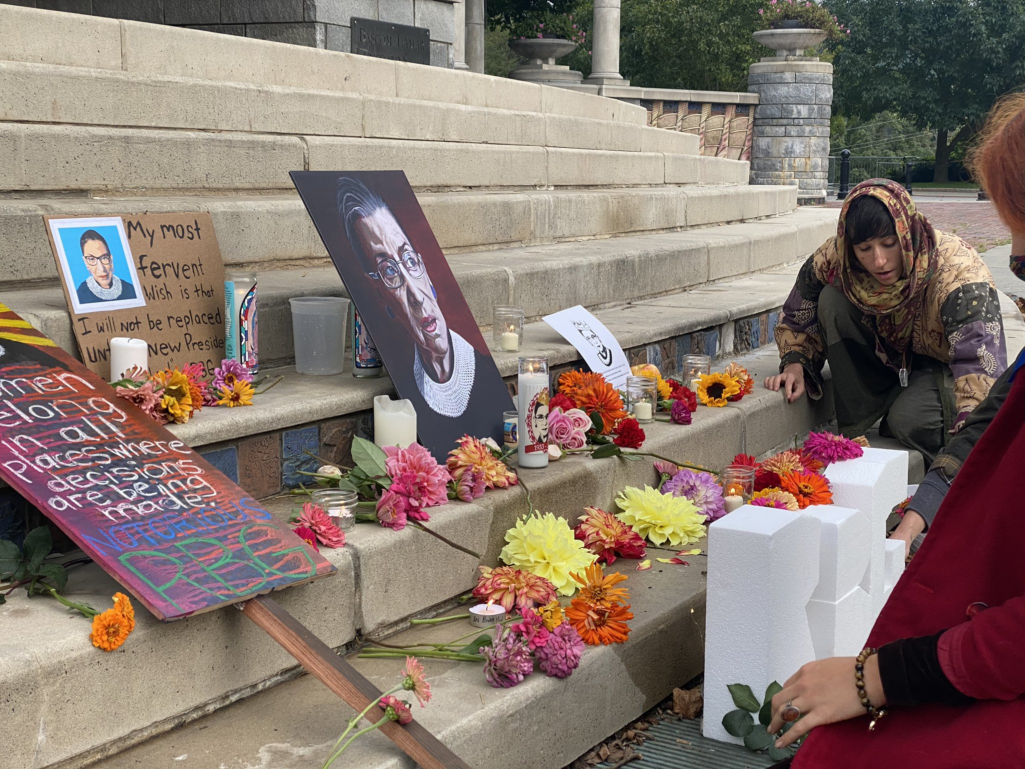 Sept. 19, 2020 - A group of people gather in downtown Asheville to remember the life and legacy of Justice Ruth Bader Ginsburg. (Photo credit: WLOS Staff)