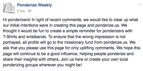 The website – ponderize.us – disappeared Sunday night Oct. 4, 2015 after online backlash and accusations of using a religious occasion for personal gain. (Screenshot from Ponderize Weekly Facebook page)