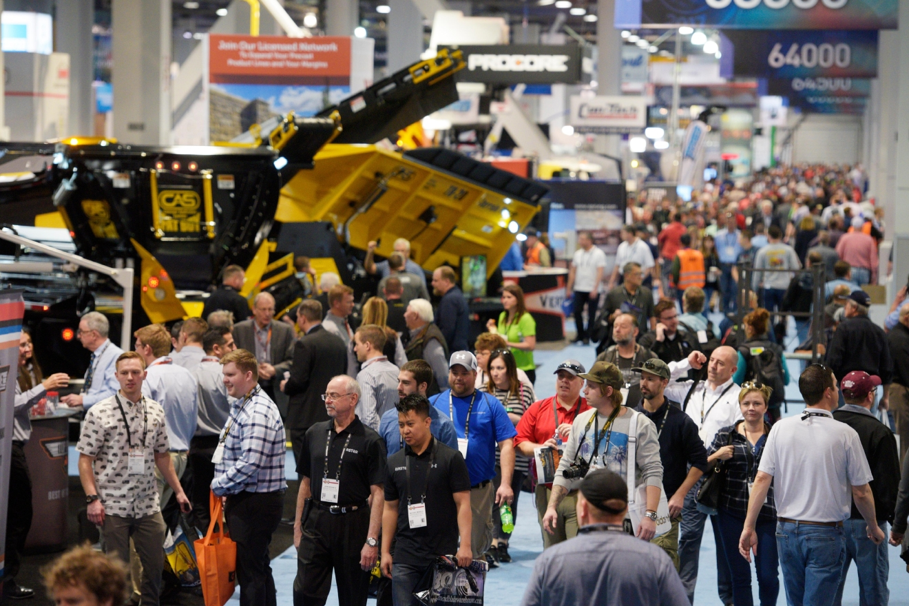 Attendees check out the exhibits in the South Hall during the first day of the 2017 CONEXPO-CON/AGG convention Tuesday, March 7, 2017, at the Las Vegas Convention Center. [Sam Morris/Las Vegas News Bureau]