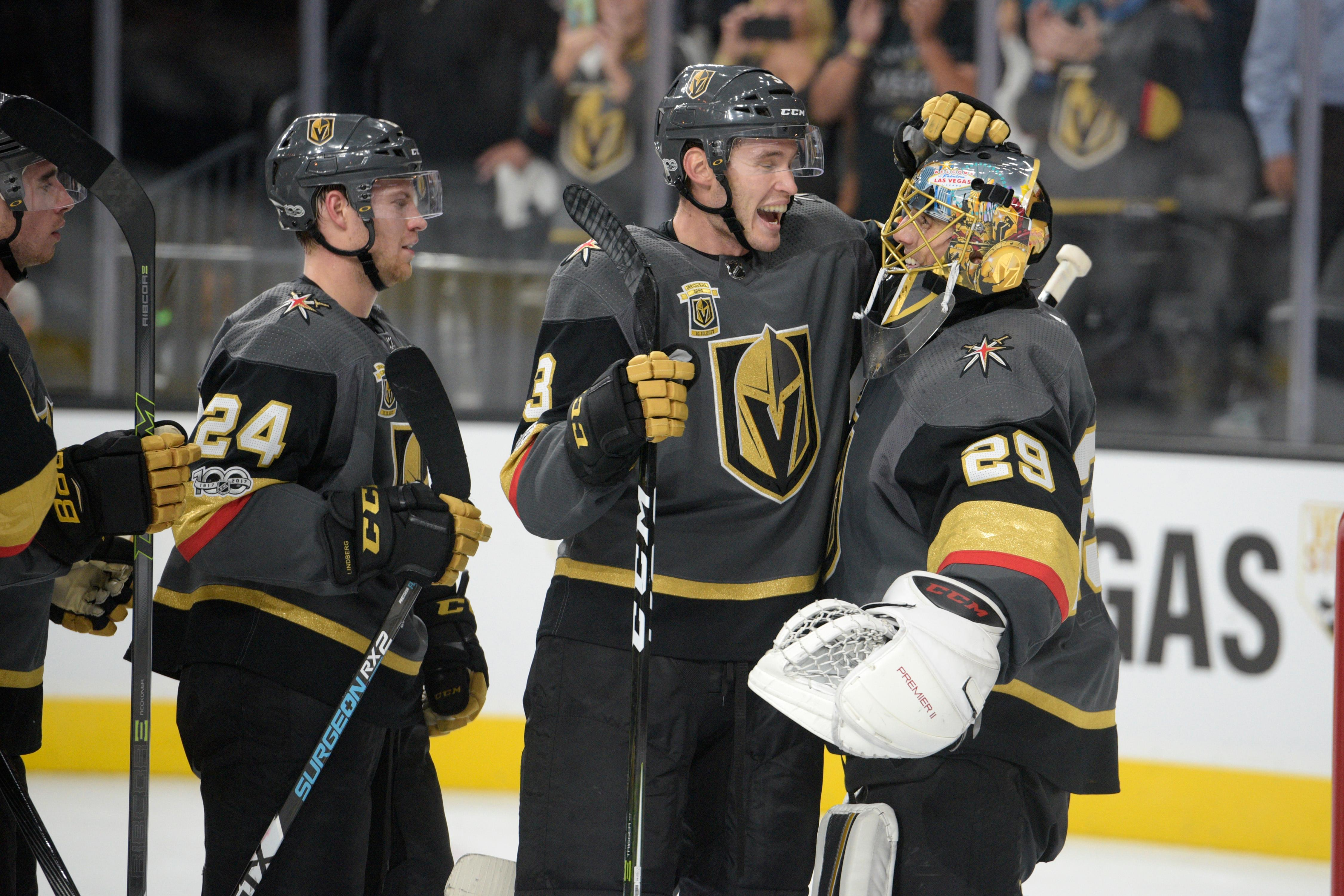 Vegas Golden Knights defenseman Brayden McNabb (3) congratulates Vegas Golden Knights goalie Marc-Andre Fleury (29) after the Knights home opener Tuesday, Oct. 10, 2017, at the T-Mobile Arena. The Knights won 5-2 to extend their winning streak to 3-0. CREDIT: Sam Morris/Las Vegas News Bureau