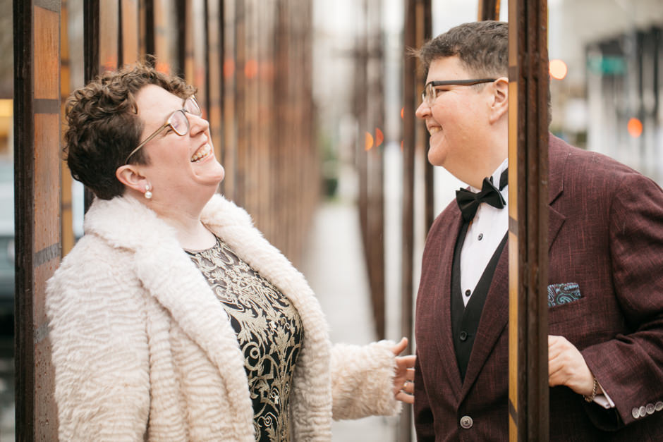 Dorcas and Shawna shared their special day at the top of the Smith Tower and we have to say we are huge fans of the rustic, 30's vibe this wedding has. For photos, the couple strolled around the city to snap some shots at the Space Needle and over in West Seattle at the location of their first date. D'aaaw could that be sweeter?! For the reception they had sliders and created craft cocktails, which feels like a must with the speak-easy vibes of The Smith Tower.  Click through the gallery and get wedding inspo, or to just gaze upon the beauty that is this glorious wedding. Do you or somebody you know have a wedding you think deserves the spotlight? We LOVE (pun intended) documenting love stories, so email us at hello@seattlerefined.com to submit some wedding or engagement shots! (Image: Jenny GG Photography).