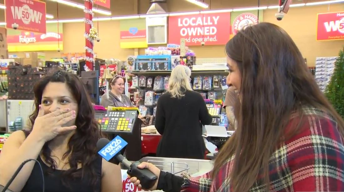 Lupita's total  was over $106 but Liz told her FOX26 and Grocery Outlet were going to pay her bill.