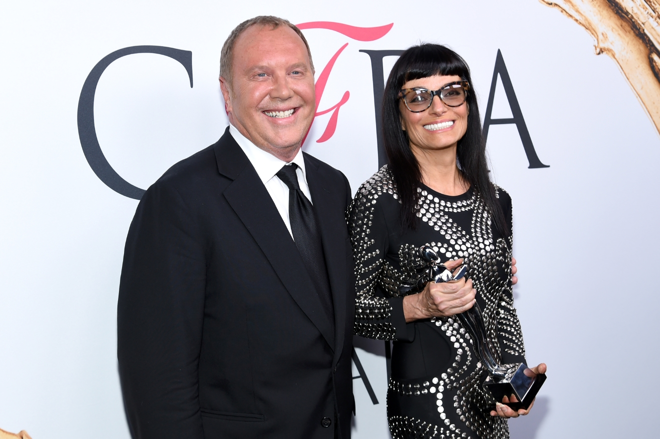 CFDA Lifetime Achievement Award winner, Norma Kamali, right, poses with Michael Kors at the CFDA Fashion Awards at the Hammerstein Ballroom on Monday, June 6, 2016, in New York. (Photo by Evan Agostini/Invision/AP)