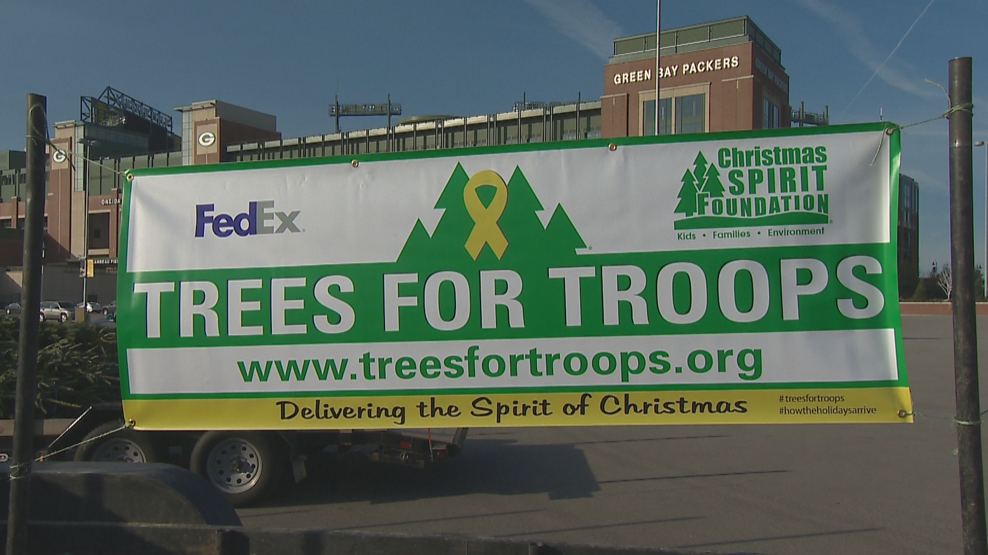 "The annual ""Trees for Troops"" collection took place in the Lambeau Field parking lot November 28, 2017. (WLUK)"