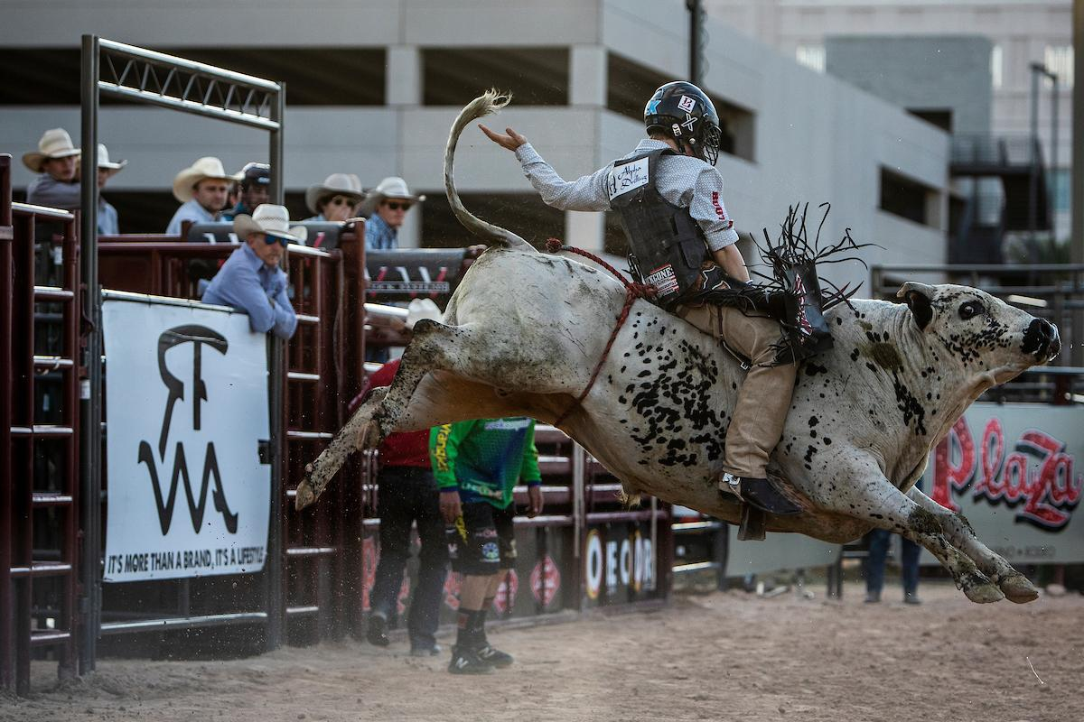 Aaron Williams competes in bull riding during day one of the Las Vegas Days Rodeo at the Plaza Hotel CORE Arena on Friday May 10, 2019. Las Vegas Days, formerly known as Helldorado Days, is an annual cowboy-themed event celebrating Las Vegas? tribute to the Wild West. CREDIT: Joe Buglewicz/Las Vegas News Bureau