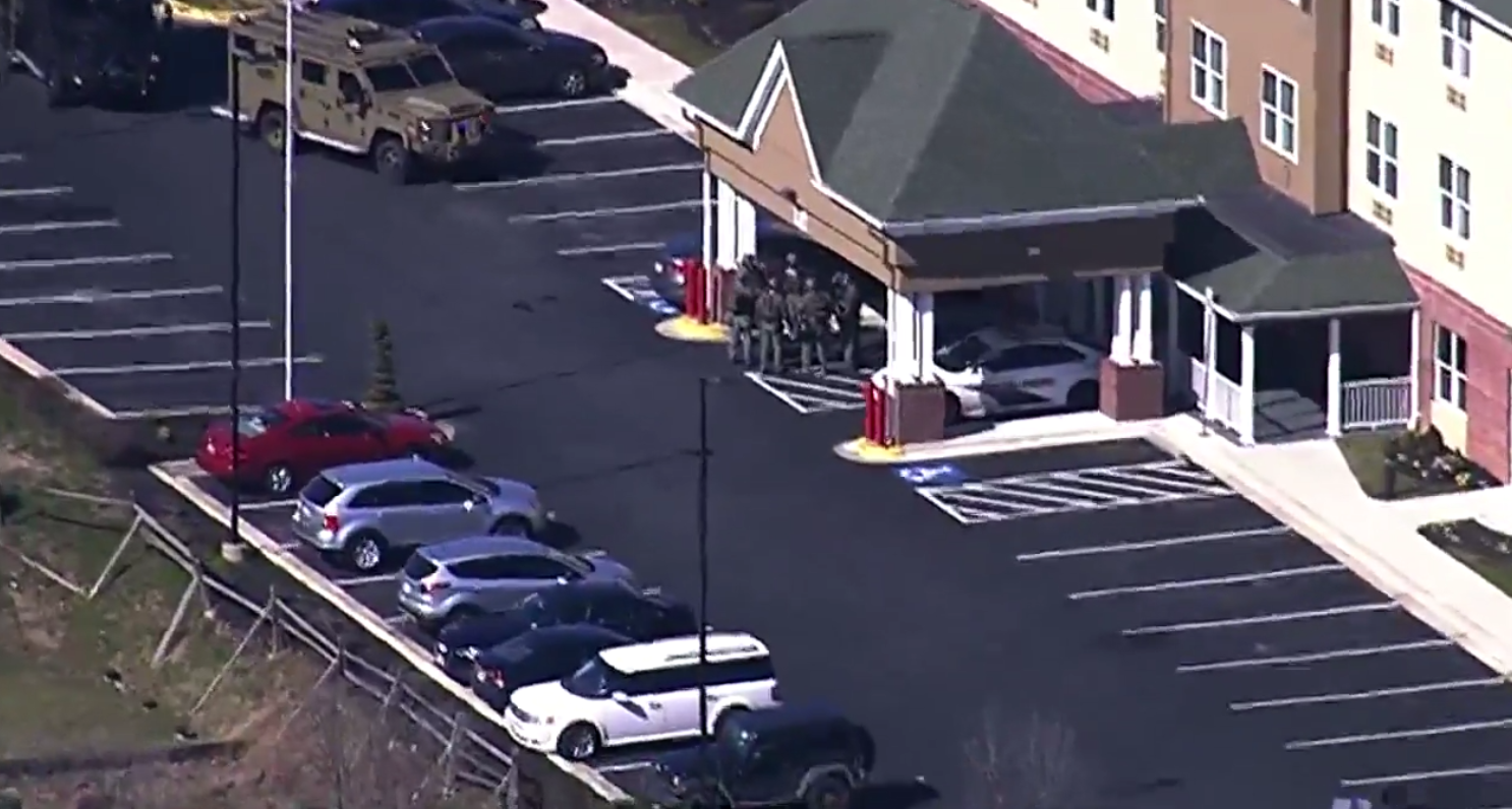 Sheriff's officials are on the scene of a barricade situation at the County Inn and Suites in Capitol Heights, Md. Friday, March 16, 2018 (SkyTrak7){&amp;nbsp;}<p></p>