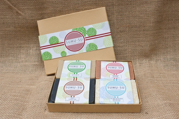 A gift set of four scents of soap makes the perfect unique hosting gift. (Image: Courtesy Sumu-su Soap)