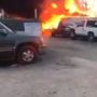 Fire fighters battle raging fire at Maryland storage lot