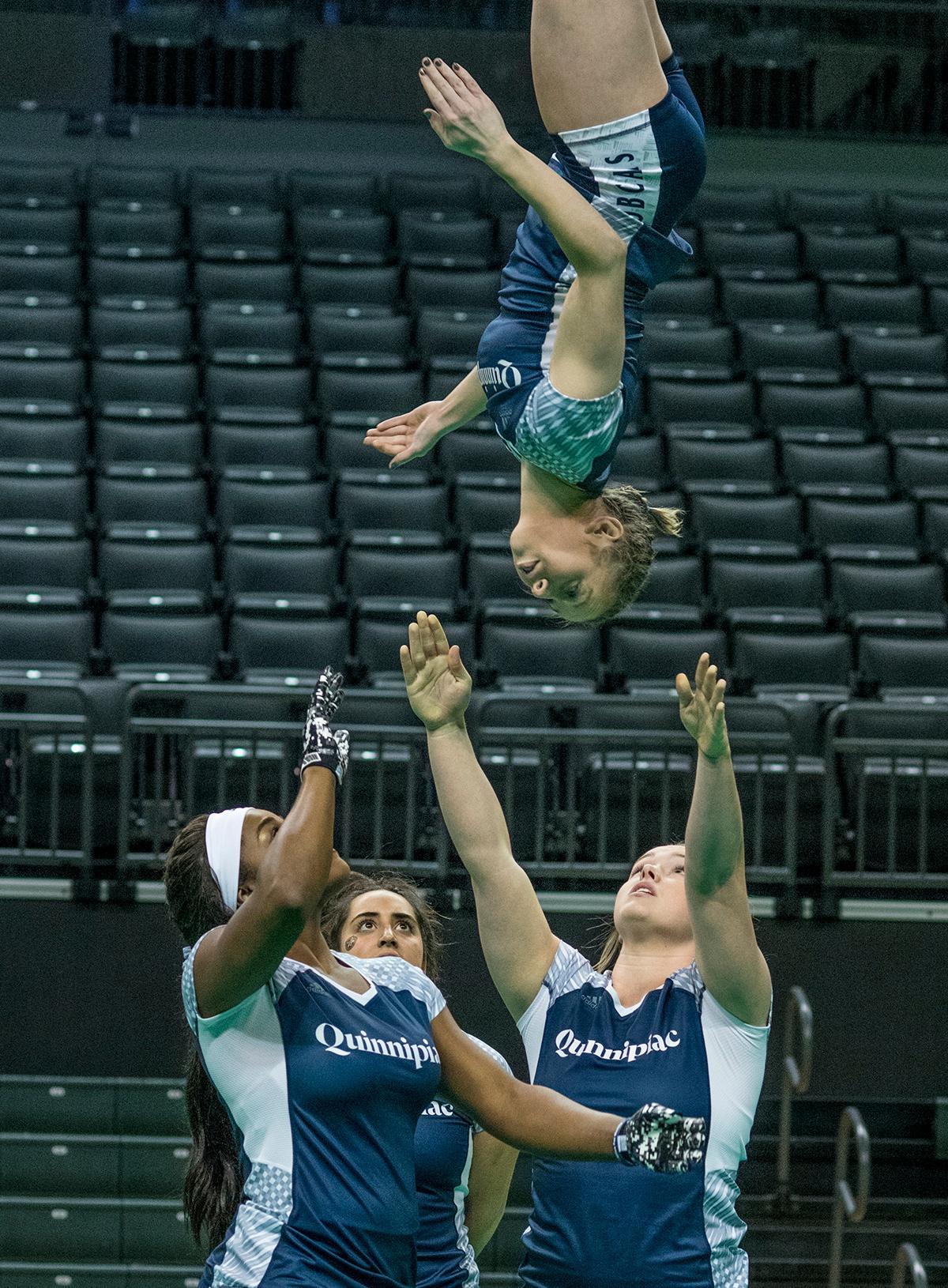 oregon acrobatics tumbling fall  quinnipiac defeat gannon kval