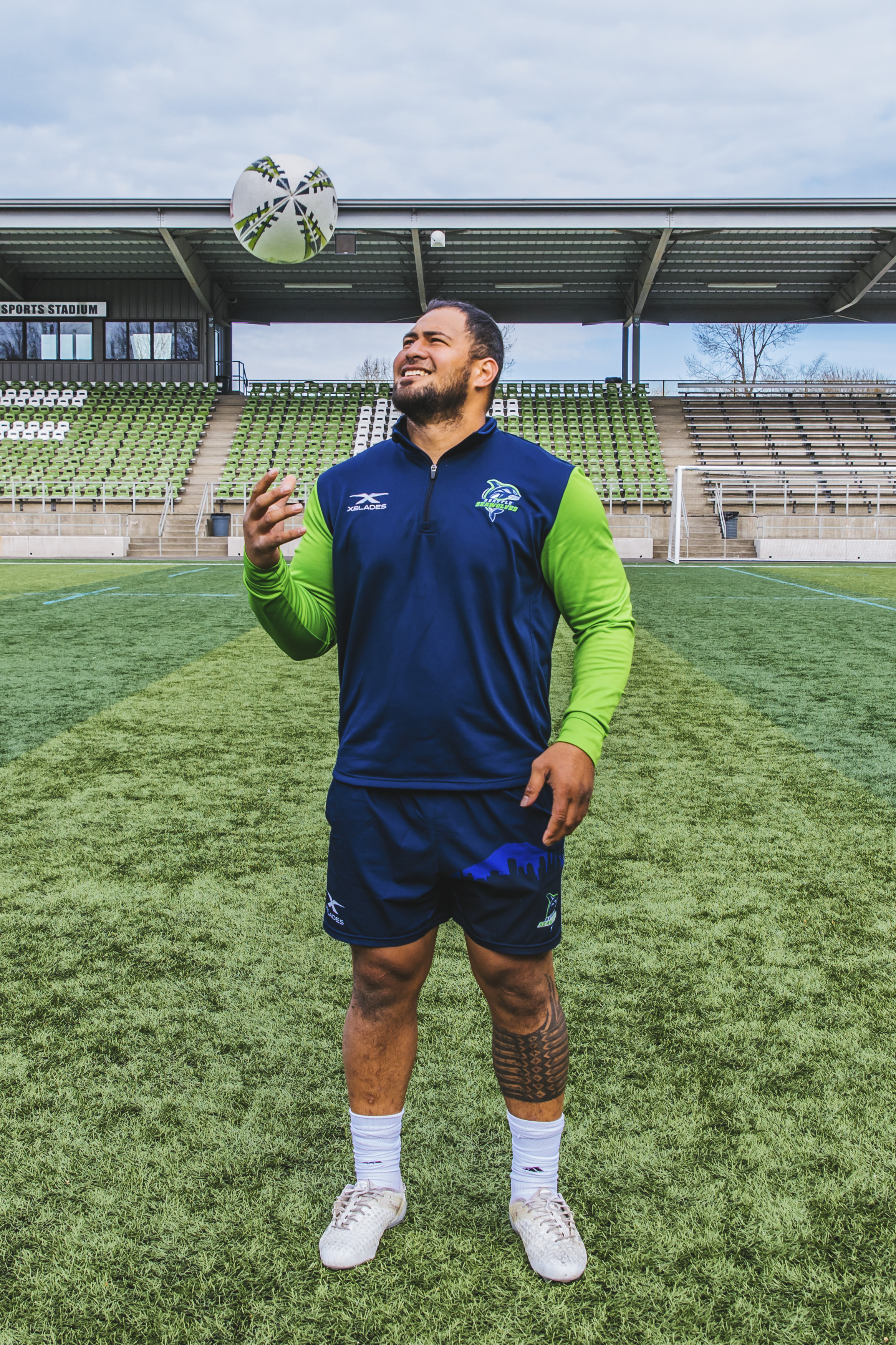Joey was born in Laulii, American Somoa but the 27-year-old has made his way to the PNW to play on the Seattle Seawolves! He plays Inside Center and his favorite TV show currently is Game of Thrones. (Image: Sunita Martini / Seattle Refined).