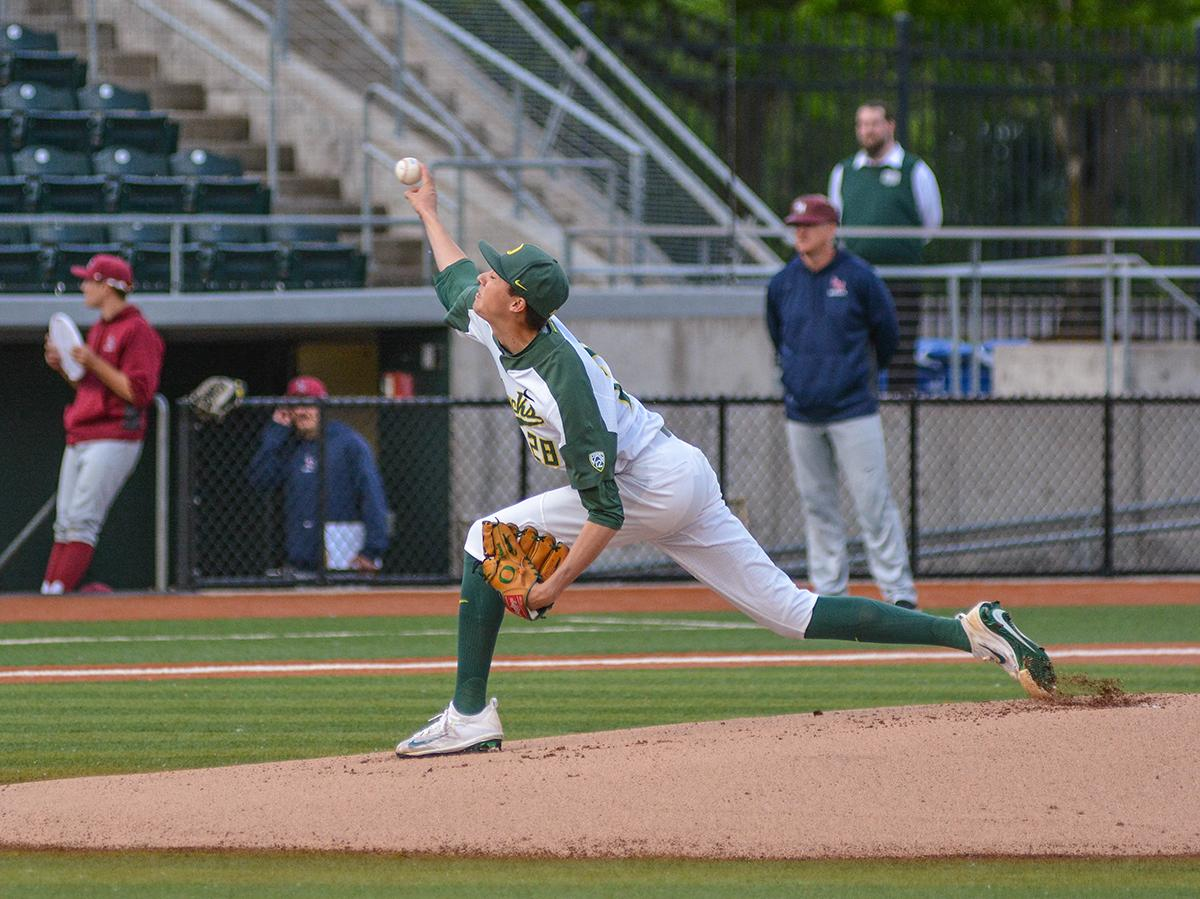 Ducks starting pitcher James Acuna (#28) releases the ball in hopes of a strike. On Wednesday night the Ducks fell to the Loyola Marymount Lions 4-0 at PK Park. Photo by Jacob Smith, Oregon News Lab