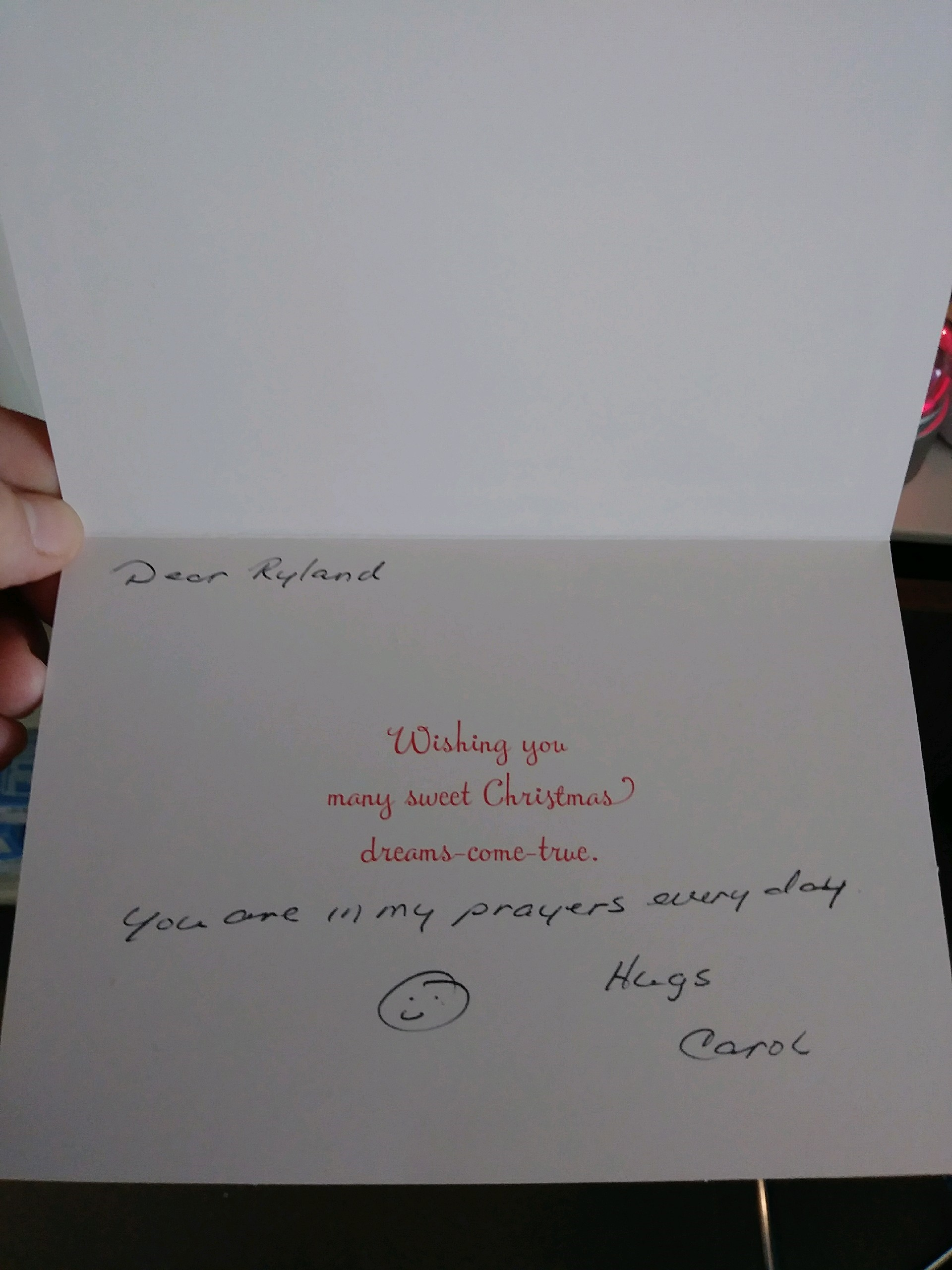 One of the thousands of Christmas cards sent to Ryland Ward.{ } Courtesy photo.