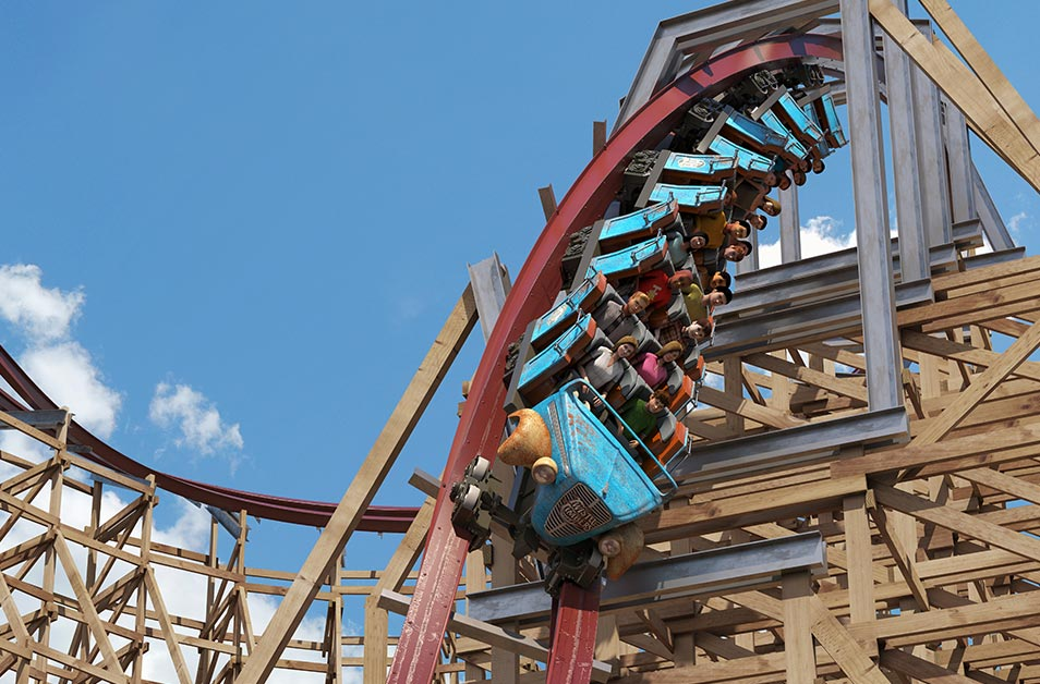 Wood and steel intertwine into twisting barrel roll drops, dynamic inversions and gravity-defying weightlessness on Kings Dominion's newest coaster, Twisted Timbers. (Image: Courtesy King's Dominion)