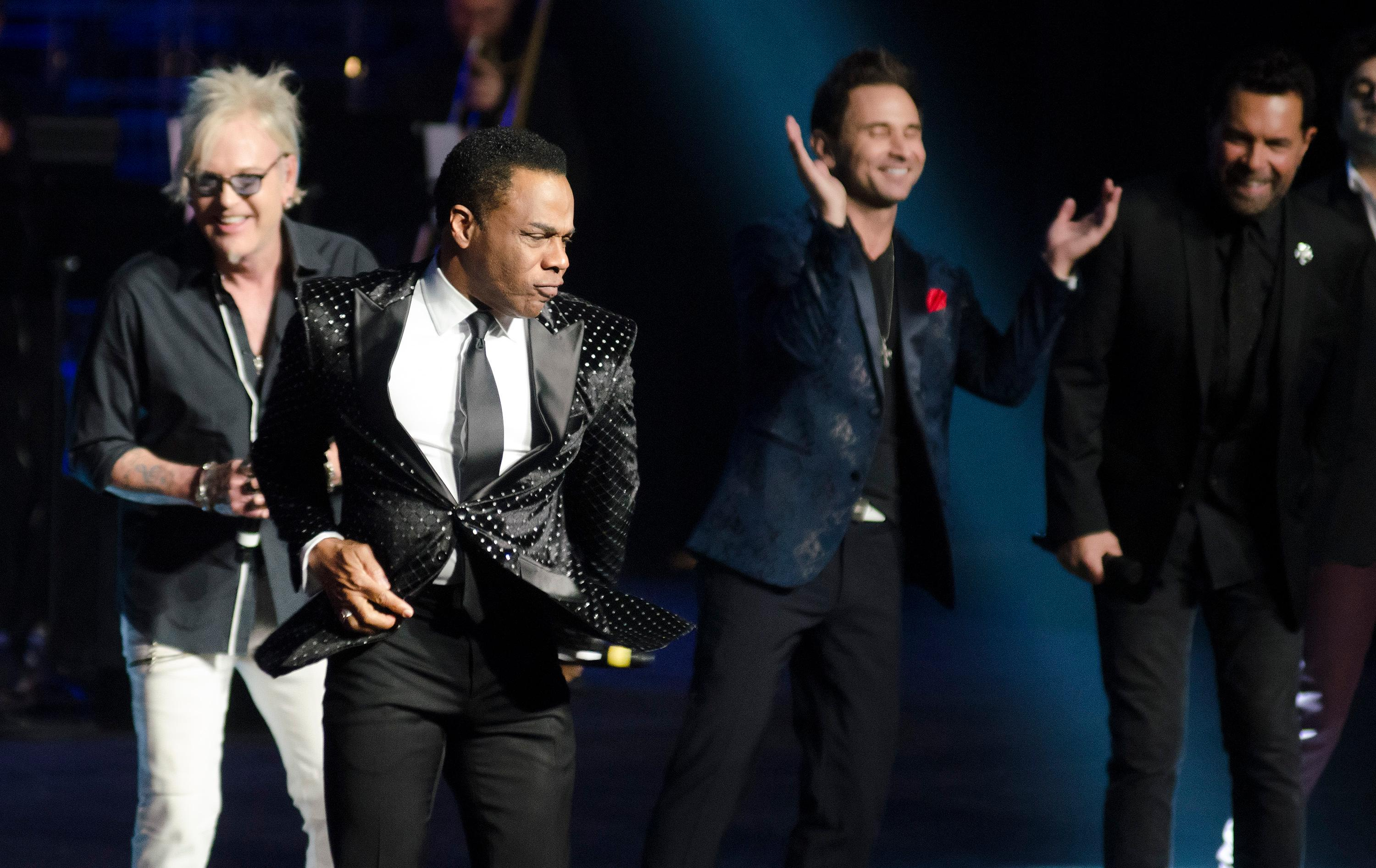 "Earl Turner, second from left, performs with fellow entertainers during the ""Vegas Cares"" benefit concert at the Venetian Theatre in the Venetian hotel-casino at 3355 S. Las Vegas Blvd in Las Vegas on Sunday, Nov 5, 2017. The concert was sponsored by a group of Las Vegas entertainers, producers and business professionals to honor the victims and first responders from the 1 October shooting tragedy. CREDIT: Bill Hughes/Las Vegas News Bureau"