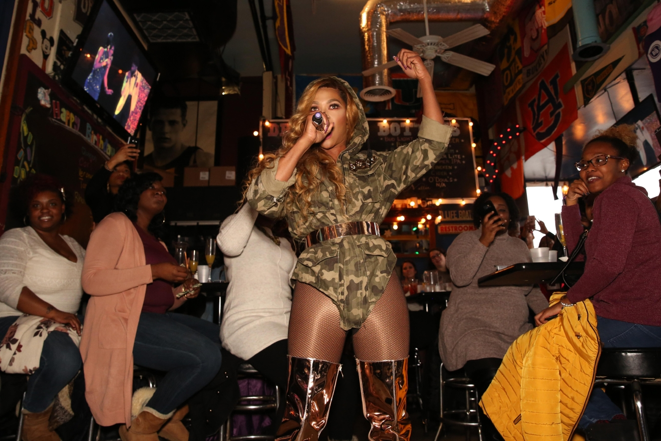 For most of the week, Nellie's is one of D.C.'s most famous LGBT-friendly bars. However their drag brunch is raunchy, raucous and beloved by bachelorettes and birthday girls alike. This Beyonce look-a-like is absolutely worth writing home about. (Amanda Andrade-Rhoades/DC Refined)<p></p>