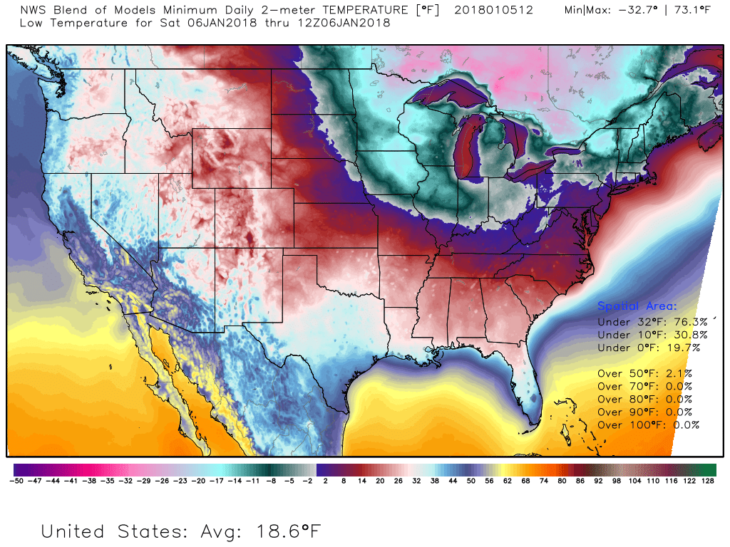 Map showing predicted low temperatures across the Continential 48 states on Saturday moring (Map via WeatherBell.com)<p></p>
