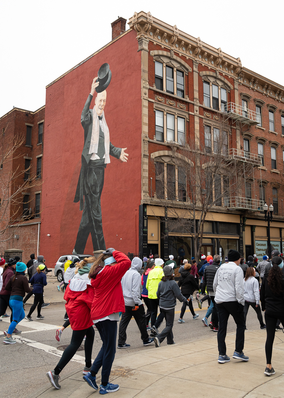 Mural Tarbell tips his hat to the racers. / Image: Phil Armstrong, Cincinnati Refined // Published: 11.28.19