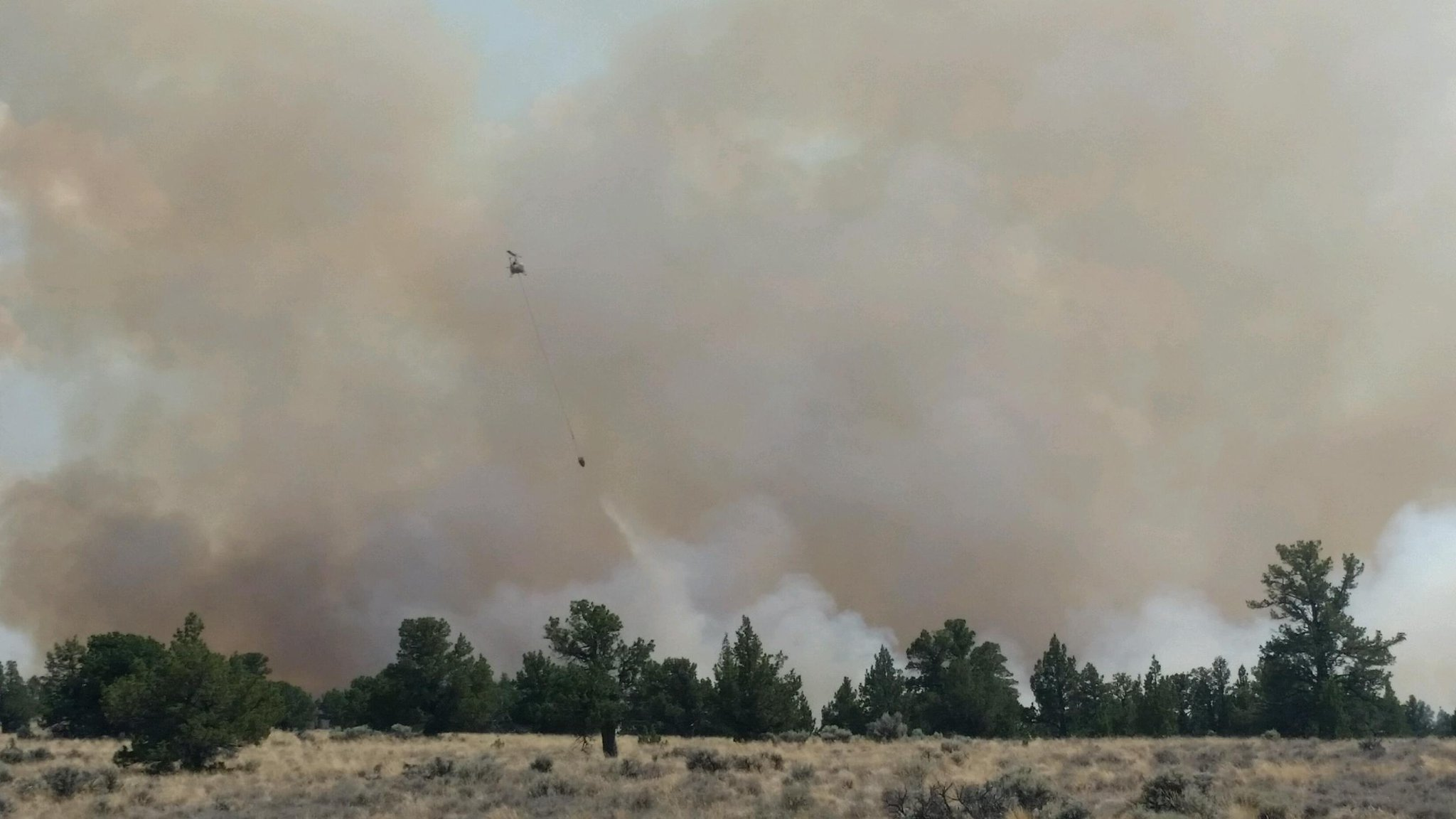 A fire closed Highway 20 near the Lake and Harney county line on Wednesday. The highway connects Bend with Burns in Oregon's high desert. (Harney County Sheriff's Office photo)