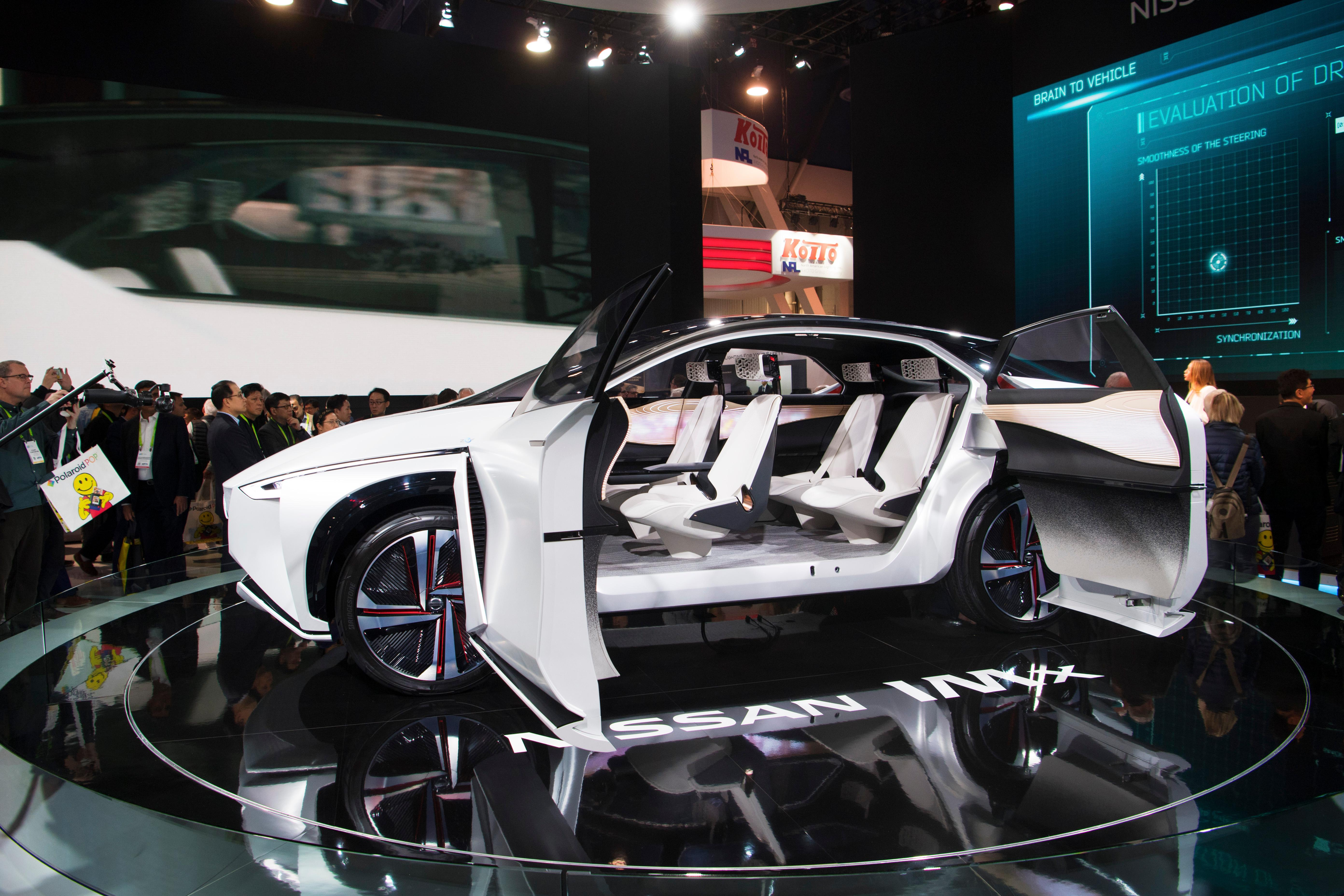 The electric, autonomous Nissan IMX concept car is seen during the second day of CES Wednesday, January 10, 2018, at the Las Vegas Convention Center. CREDIT: Sam Morris/Las Vegas News Bureau
