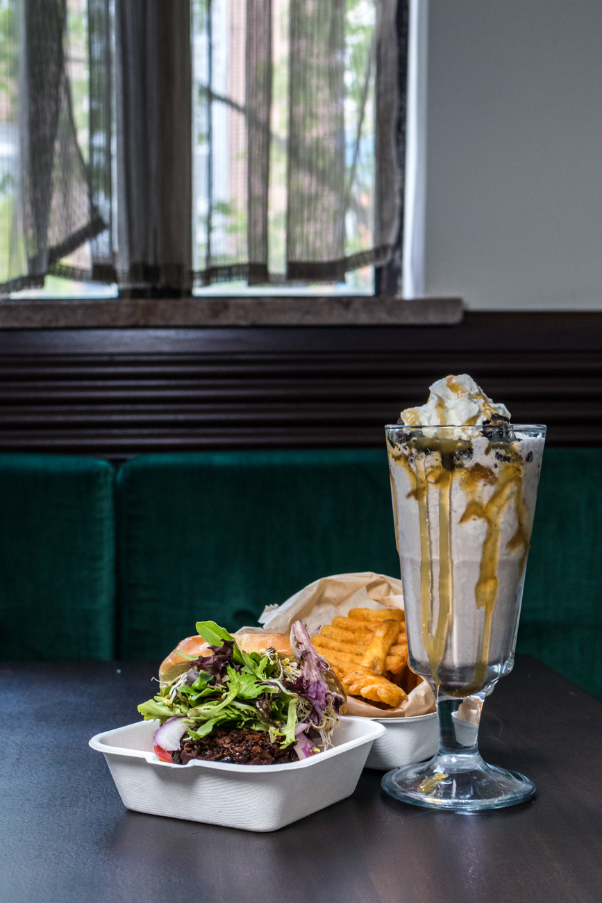 Veggie burger, fries, and the Miss Bliss shake / Image: Catherine Viox{ }// Published: 6.1.20