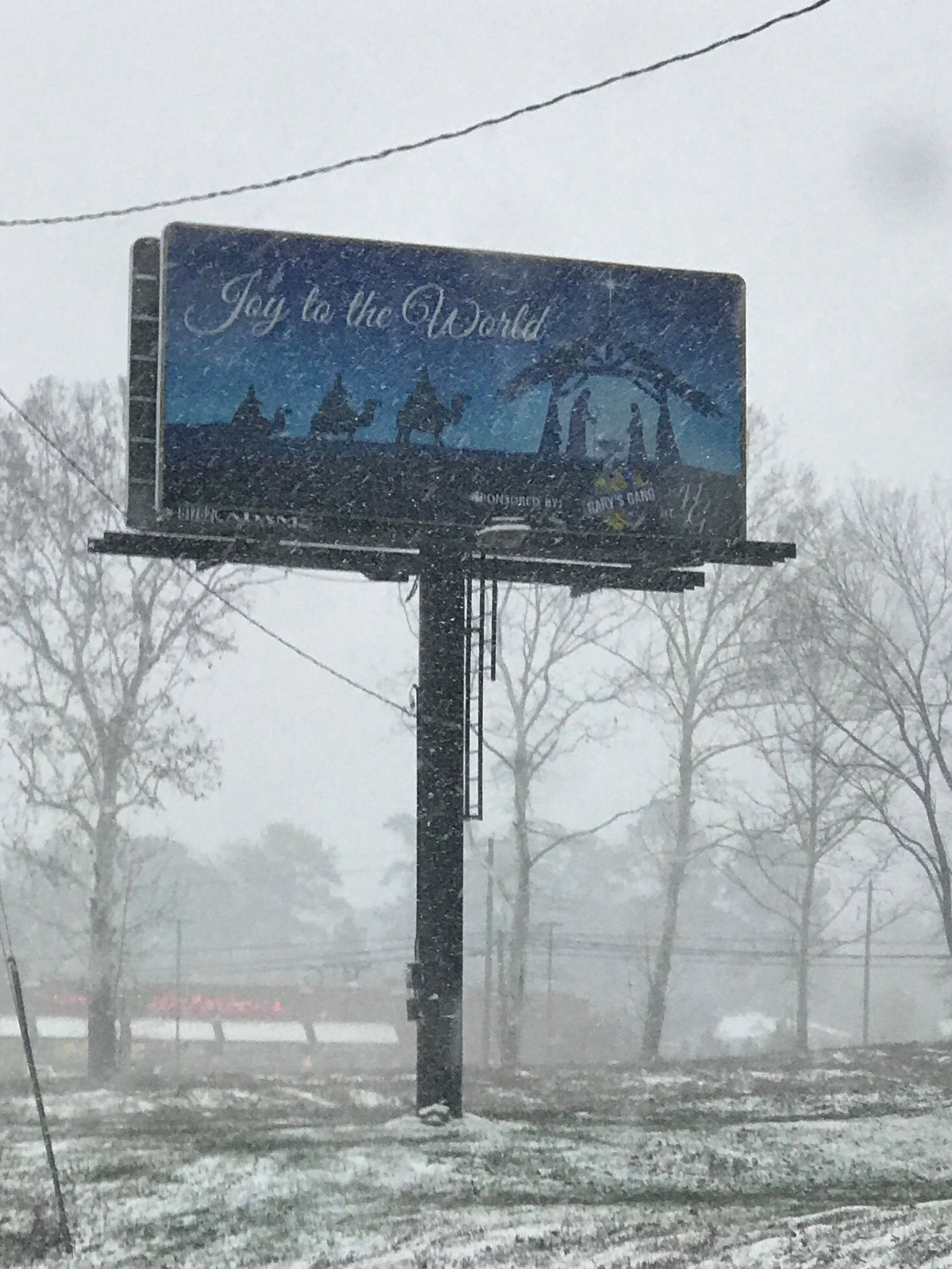 A snow covered billboard in Florence (Submitted by Barry McElhannon)