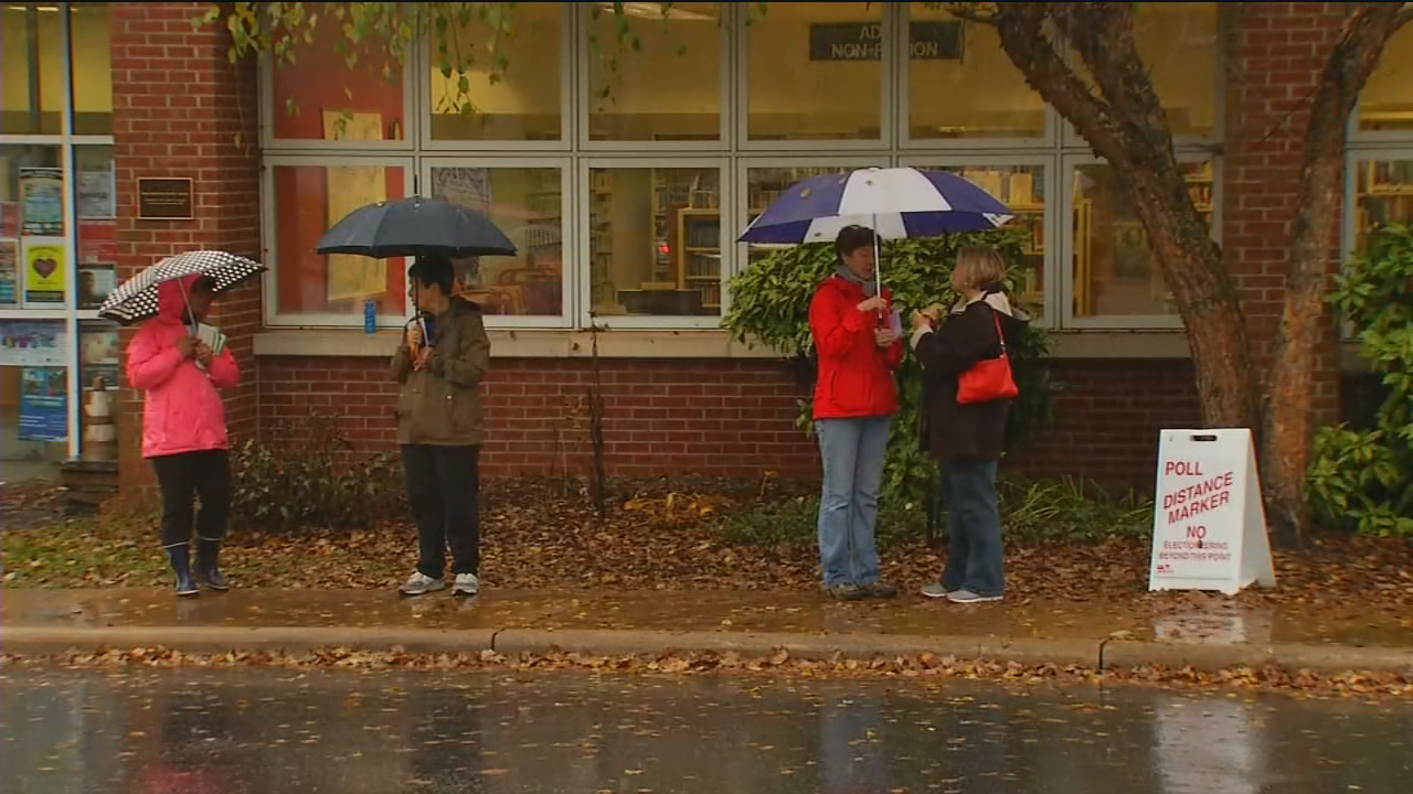 The scene at the West Asheville Library on Election Day 2017. (Photo credit: WLOS Staff)