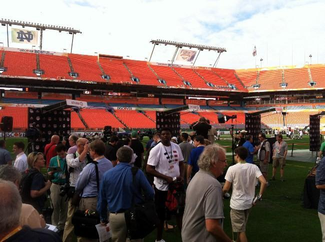 BCS media day at Sun Life Stadium in Miami on Saturday, January 5, 2013.