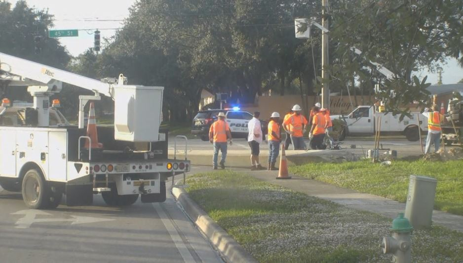 Pickup truck crashes into cement light pole, closing down the WB lanes of 45th Street. (WPEC)