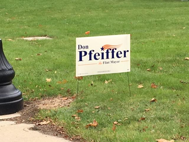 Support for Flint Mayoral candidates continue through Election Day. (Photo: Courtney Wheaton.){&amp;nbsp;}<p></p>