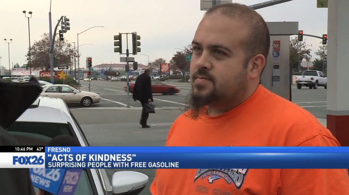 FOX26 Sports Reporter Nick King surprises a man also named Nick at a gas station in Fresno