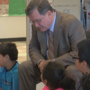Sen. Curtis King meets Roosevelt Elementary students who are studying government