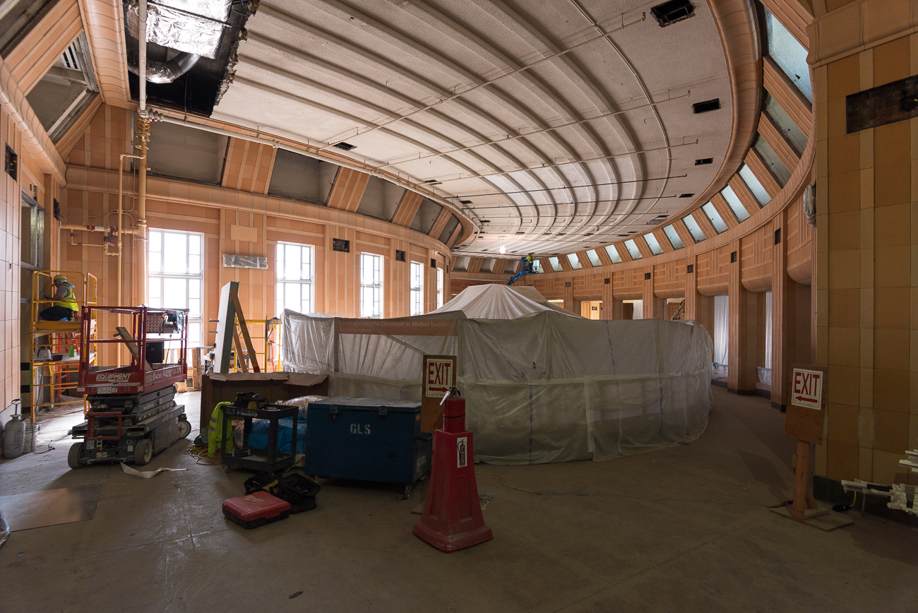 The Cincinnati Museum Center at Union Terminal is entering its final months of a $224 million-dollar renovation. Aside from behind-the-scenes structural work and updates to plumbing, lighting, and other functional components, visitors will notice aesthetic changes on the mezzanine level in addition to a cleaner rotunda. Note: The Children's Museum reopens on May 4. Other areas will start to reopen in phases starting in November. / Image: Phil Armstrong, Cincinnati Refined // Published: 4.30.18