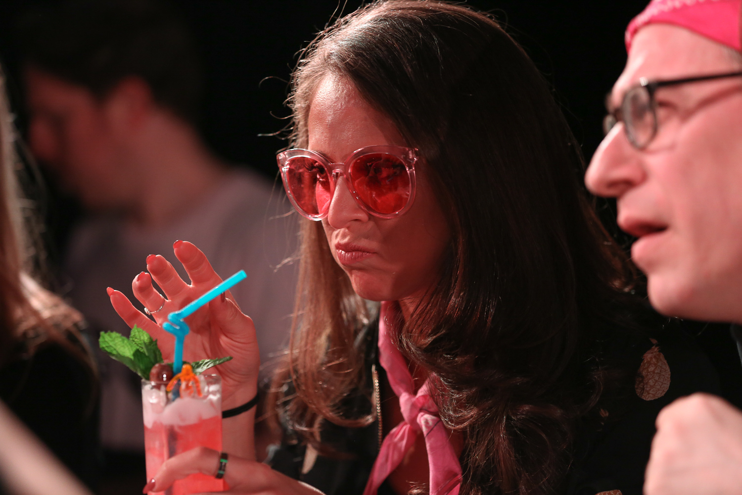 Pamela Wiznitzer, president of the United States Bartenders' Guild, popped on these pink sunglasses at Speed Rack but we're kind of into them! (Amanda Andrade-Rhoades/DC Refined)