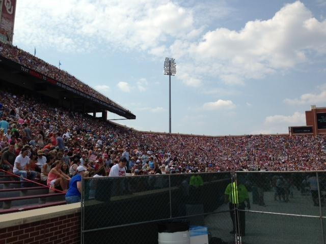 Fans fill up OU's Gaylord Memorial Stadium.