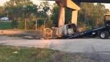 Driver hits bridge support of overpass, dies