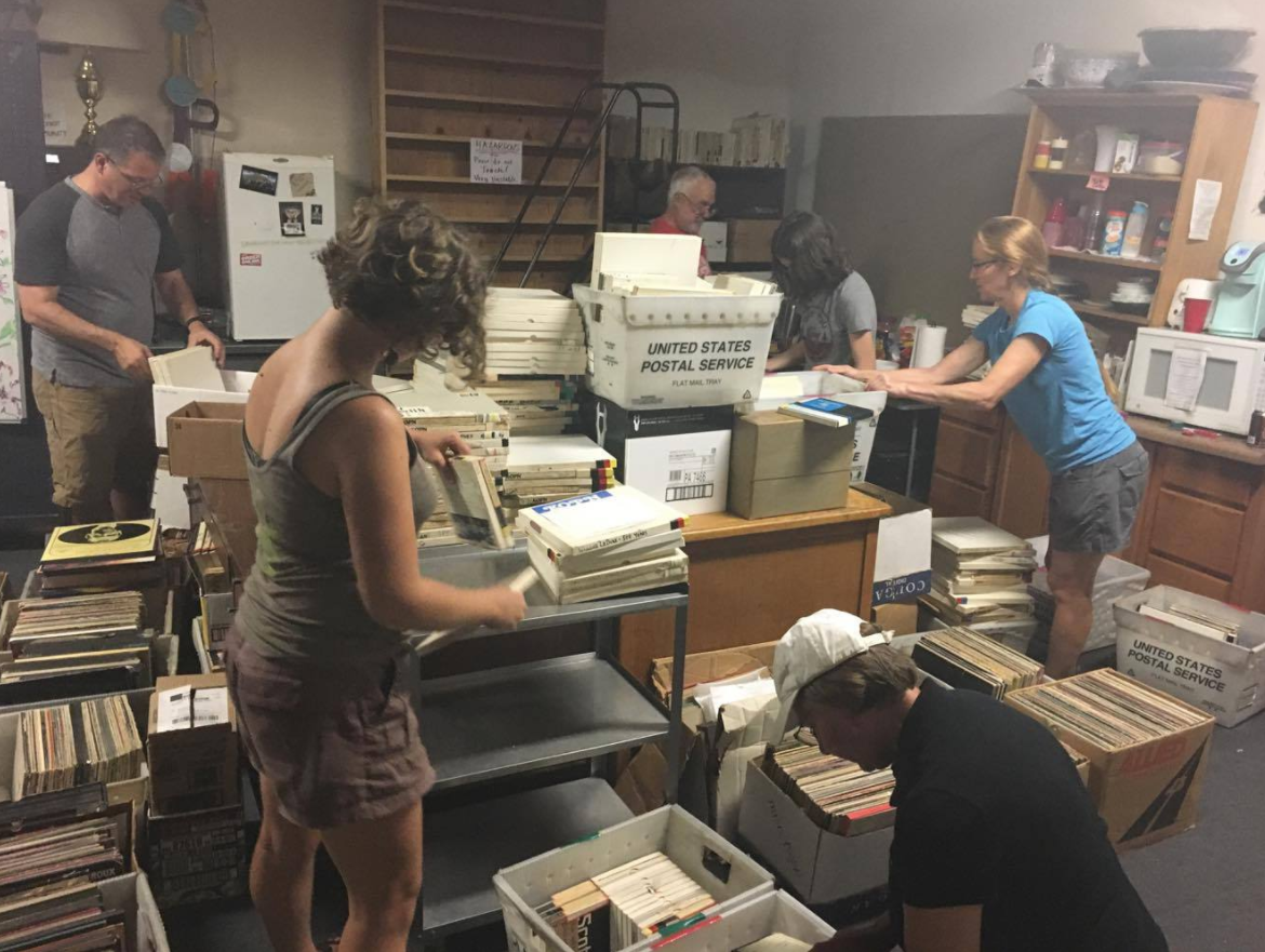 KPON-FM hosted a station event Saturday that was open to community members and volunteers to assist in organizing their material. Volunteers sifted through film reels to hopefully digitize their content. (Gabriella Nuñez/KRCG13)
