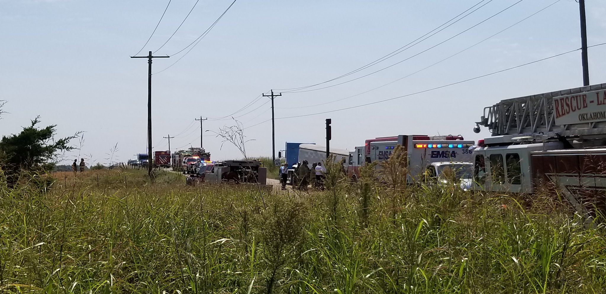 Firefighters on scene of a fatal crash Sept. 13 near NW 122 and Piedmont.  (KOKH/Steven Anderson)