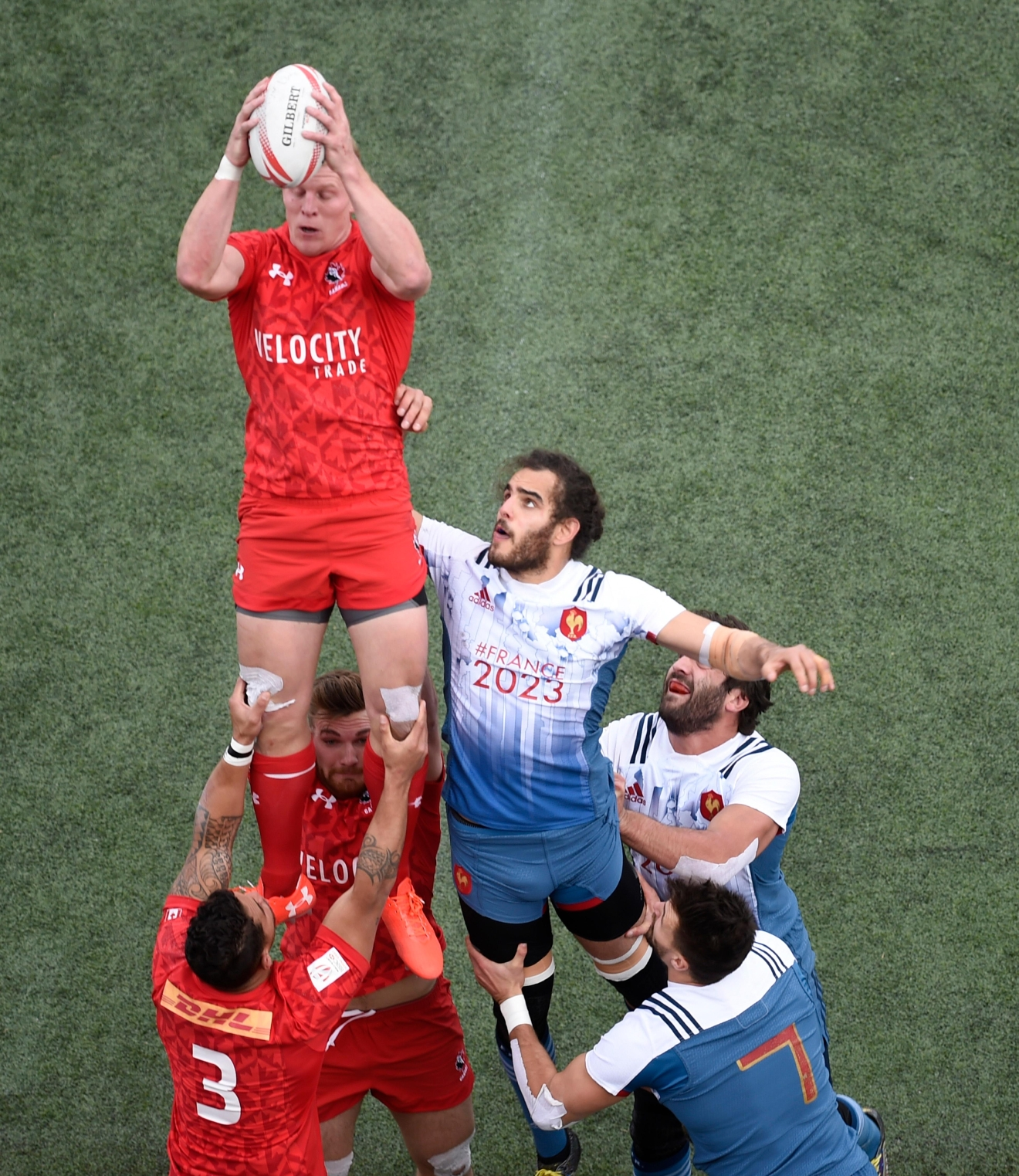 Canada's John Moonlight catches a line out against France during their match at the USA Sevens rugby tournament Saturday, March 4, 2017, at Sam Boyd Stadium. [Sam Morris/Las Vegas News Bureau]