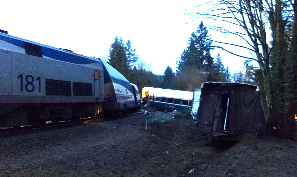Three people were killed when an Amtrak train derailed near DuPont, Wash. Monday, Dec. 18, 2017. (Photo: KOMO News/Air 4)<p></p>