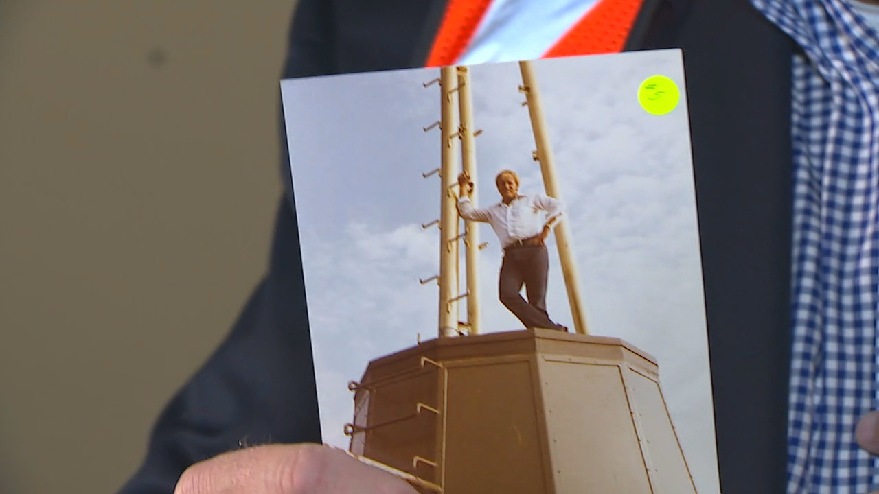 Rod Kauffman shows a photo of him atop the Space Needle in 1982{&amp;nbsp;}{&amp;nbsp;}(KOMO Photo)<p></p>