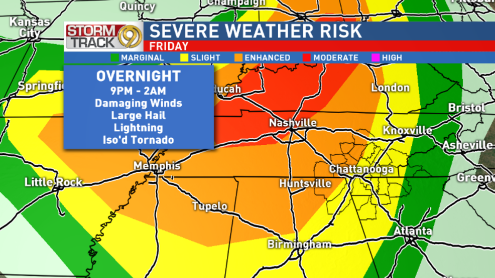Damaging Winds Hail Tornadoes Possible With Storms Overnight Wtvc