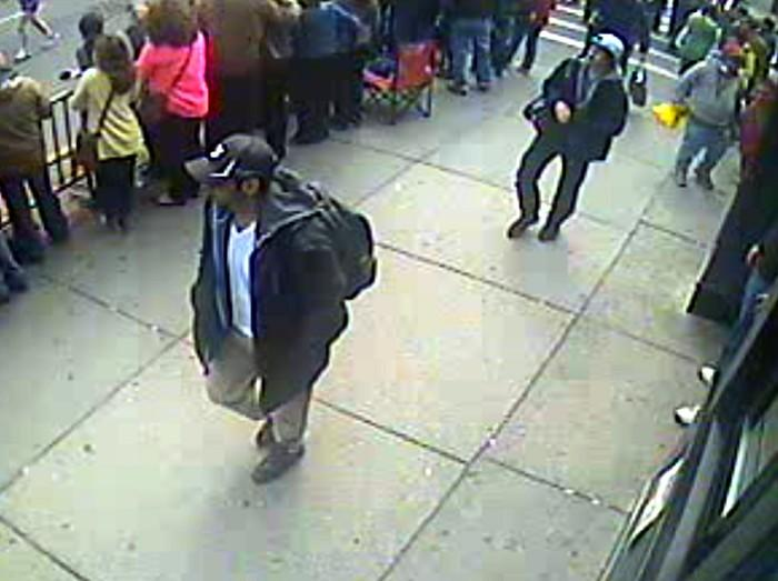 The FBI released images and surveillance video of two possible suspects in the Boston Marathon bombings on Thursday, April 18, 2013.