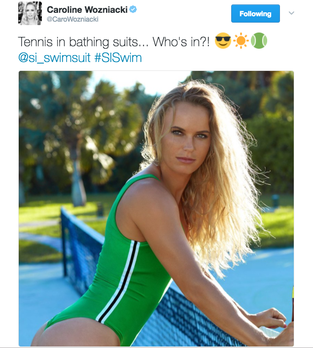 "Caroline Wozniacki tweets an image from her Sports Illustrated Swimsuit shoot and captions ""Tennis in bathing suits... Who's in?!"""
