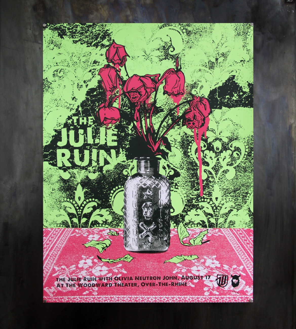 "Julie Ruin poster, 18""x24"" silkscreen 3-color print on 100 lb French paper / Image courtesy of We Have Become Vikings // Published: 7.18.18"