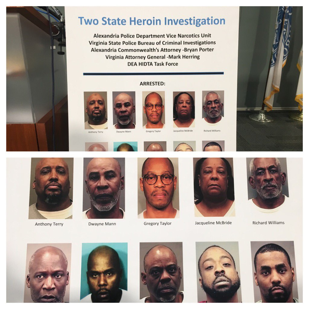 Suspects arrested in massive trafficking bust in Virginia and Maryland. (Photo: Alexandria Police Department)