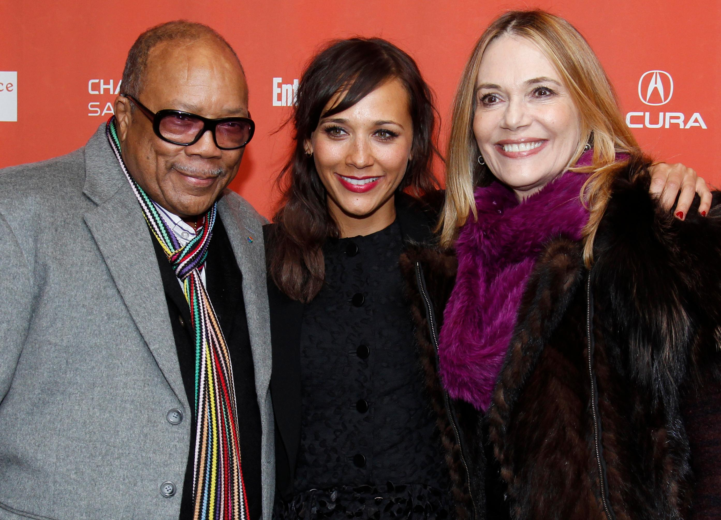 "FILE - In this Jan. 20, 2012 file photo, actress Rashida Jones, center, poses with her father Quincy Jones, left, and her mother Peggy Lipton, right, at the premiere of ""Celeste and Jesse Forever"" at the 2012 Sundance Film Festival in Park City, Utah. Lipton, a star of the groundbreaking late 1960s TV show ""The Mod Squad"" and the 1990s show ""Twin Peaks,"" has died of cancer at age 72. Lipton's daughters Rashida and Kidada Jones say in a statement that Lipton died Saturday, May 11, 2019, surrounded by her family. (AP Photo/Danny Moloshok, File)"