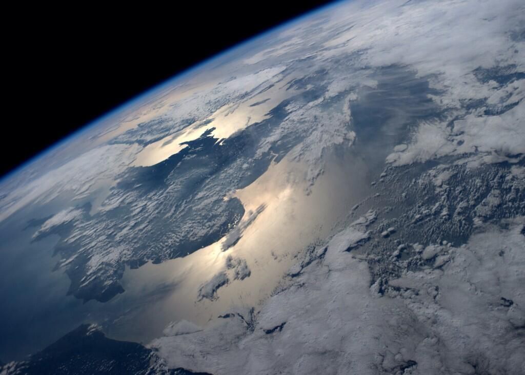 England gleaming in the afternoon sun  (Photo & Caption: Reid Wiseman, NASA)