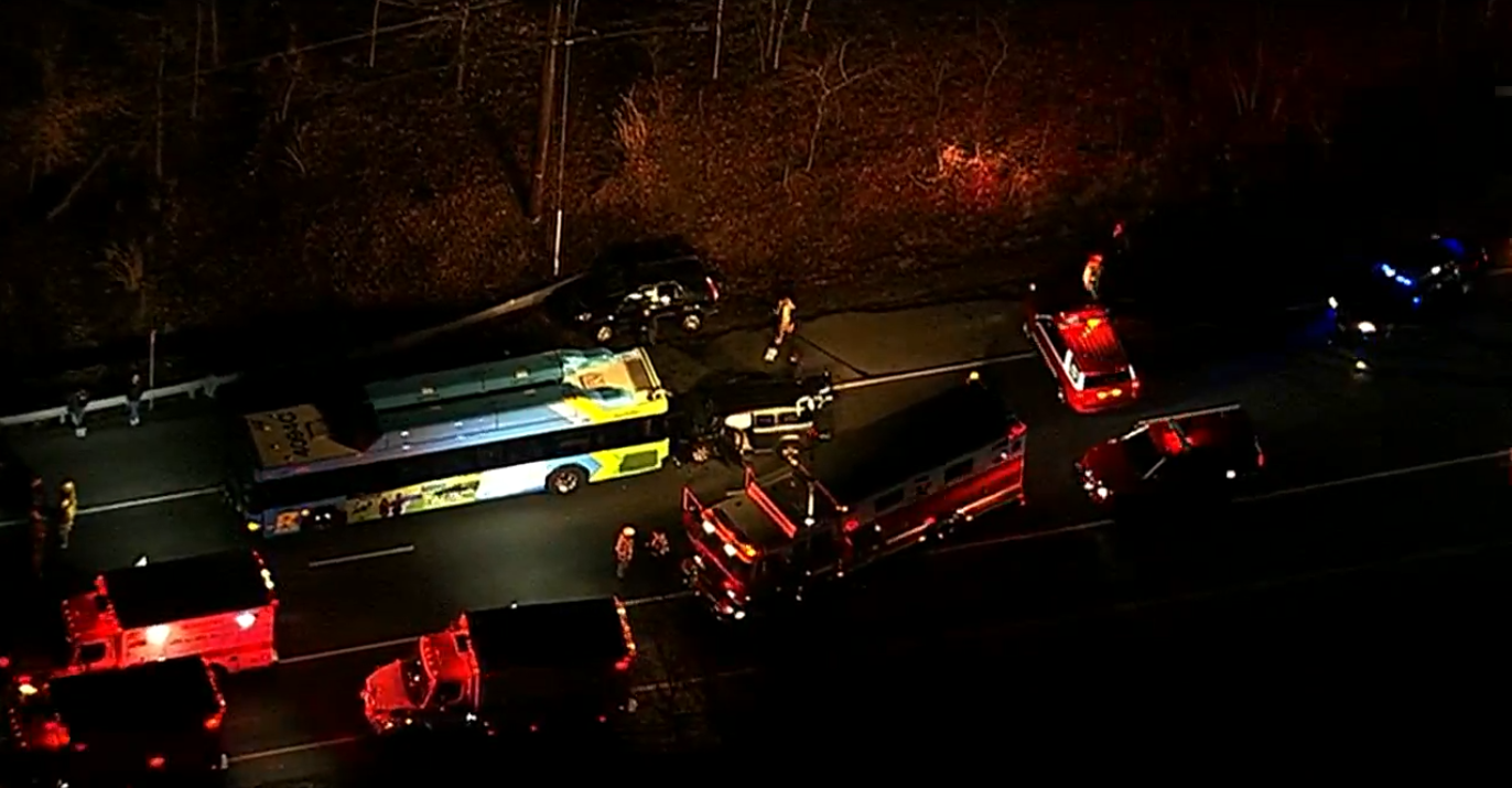 Officials: Driver trapped after car crashes into back of Ride-on bus in Montgomery County (SkyTrak7)